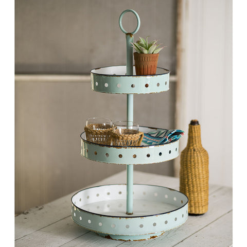 Three Tier Metal Tray in Mint