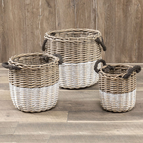 Set of 3 Wicker Farmhouse Baskets with White Bottoms and rope handles from One Cottage Way Coastal Farmhouse Decor