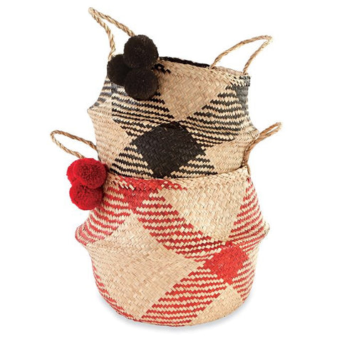 Buffalo Check Seagrass Basket Set