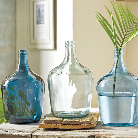 Mud Pie Blue Glass Carafe Vases from One Cottage Way