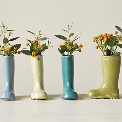 Pastel Colored Rainboot Bud Vases from One Cottage Way Home Goods and Gifts