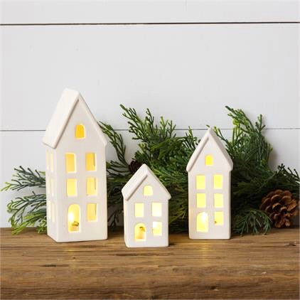 Lighted Ceramic Houses, Set of 3