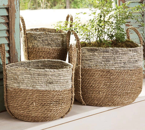 Mud Pie Natural and Gray Segrass Baskets Set of 3 from One Cottage Way Coastal Farmhouse Decor