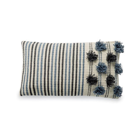 Navy Blue and White Mud Pie Pom Pom Pillow from One Cottage Way Coastal Farmhouse decor
