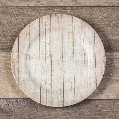 Barnwood melamine charger plates from One Cottage Way