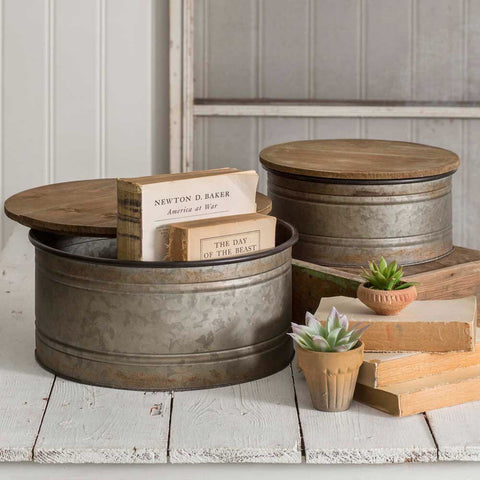 Galvanized Metal Round Bins with Wood Lids from One Cottage Way Coastal Farmhouse Decor