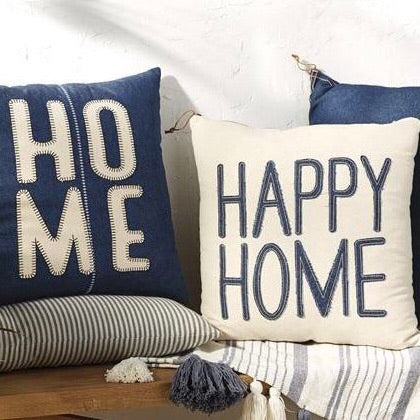 Mud Pie HOME and HAPPY HOME Denim Blue and White Throw Pillows from One Cottage Way