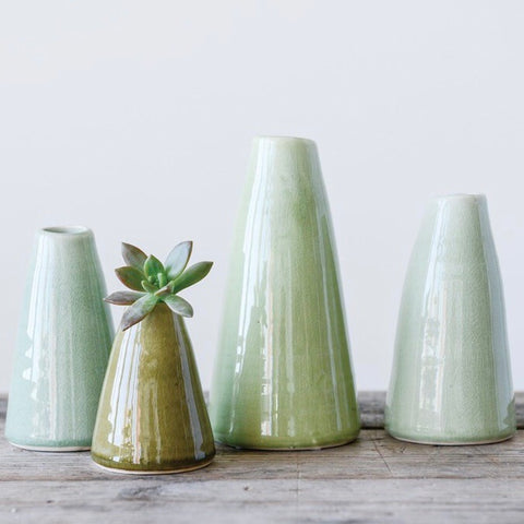 Set of 4 Bud Vases in varying shades of green from One Cottage Way Home Goods and Gifts