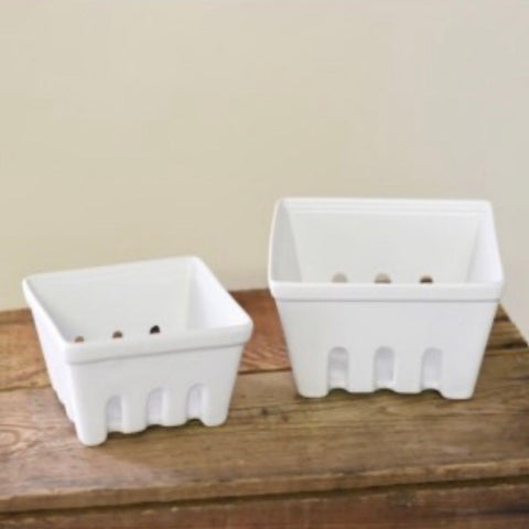 White Ceramic Berry Baskets, Set of 2