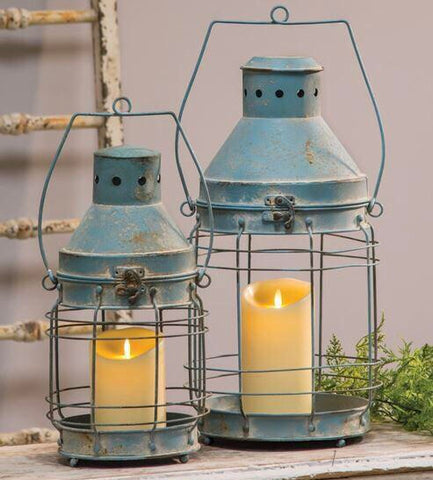 Blue Railroad Lanterns, Set of 2