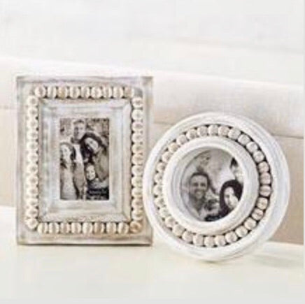 Mud Pie Beaded Wood Picture Frames from One Cottage Way Coastal Farmhouse Decor