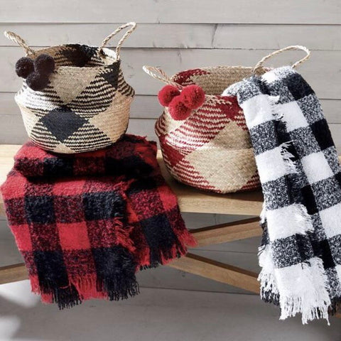 Buffalo Check Seagrass Baskets