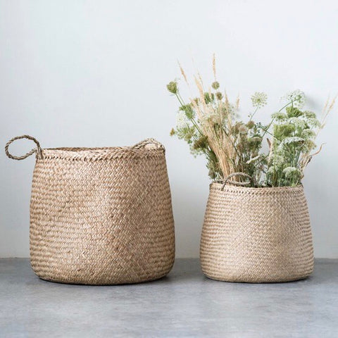 Natural Woven Seagrass Baskets Set of 2 from One Cottage Way Coastal Farmhouse Decor