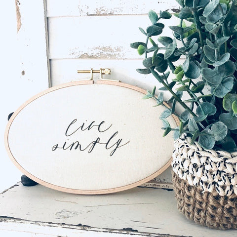 Live Simply Faux Embroidery Hoop