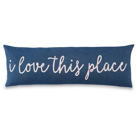 i love this place blue pillow