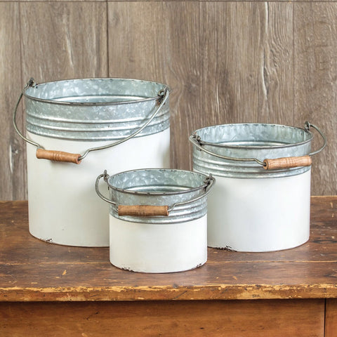 White Dipped Galvanized Buckets with Wood Handles Set of 3 from One Cottage Way Coastal Farmhouse Decor