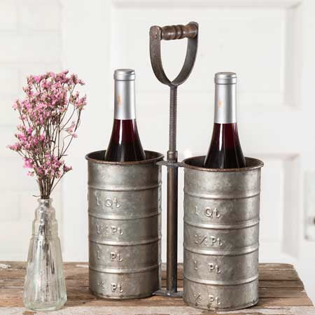 Galvainized Metal Wine Bottle Caddy from One Cottage Way Farmhouse Decor
