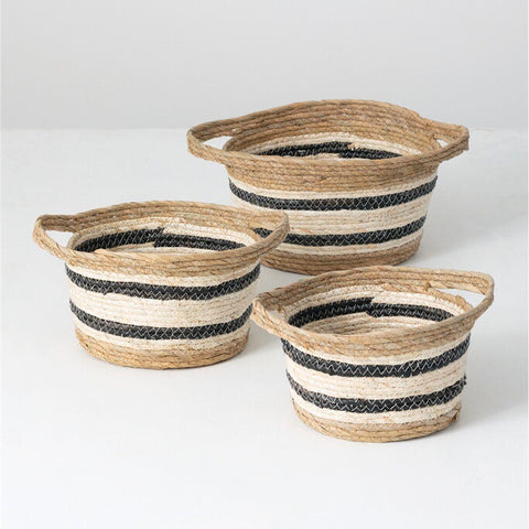 set of 3 seagrass nesting baskets with handles and black and white woven stripes