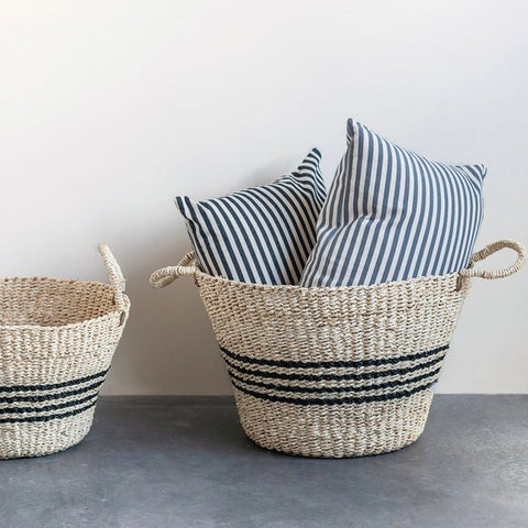Set of 2 Striped Seagrass Baskets with black stripes from One Cottage Way Coastal Farmhouse Decor
