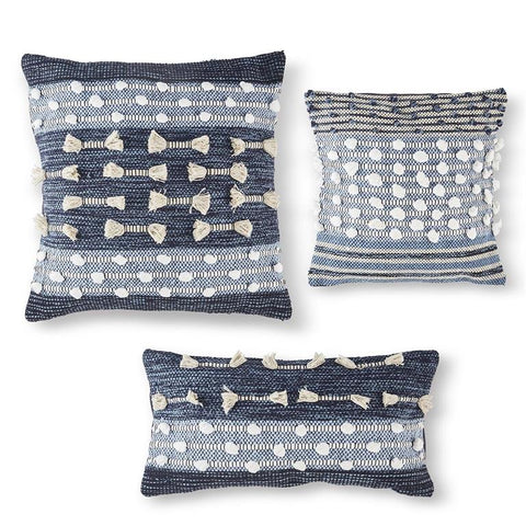 Navy Blue Pom Pillows, 3 Sizes