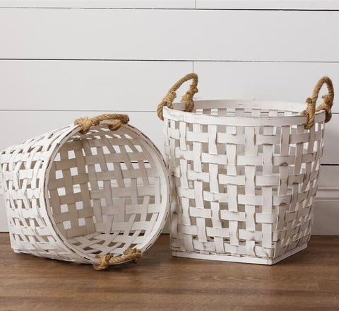 Set of 2 Distressed White Tobacco Weave Baskets with rope handles from one cottage way coastal farmhouse decor