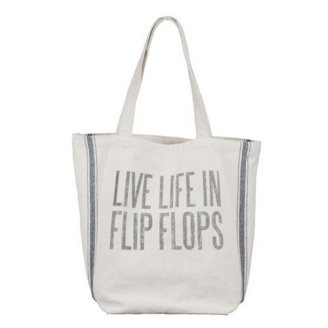 Live Life in Flip Flops Beach Tote Bag from One Cottage Way New Buffalo Coastal Farmhouse Decor
