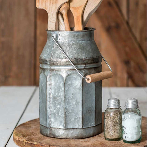 Galvanized Metal Milk Can Vase frim One Cottage Way Coastal Farmhouse Decor