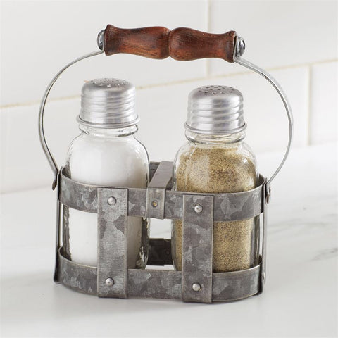 Mud Pie galvanized caddy with salt and pepper shakers from One Cottage Way