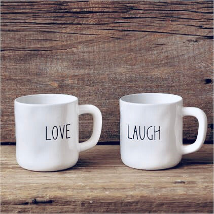 Love & Laugh Mugs, Set of 2