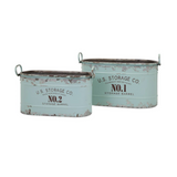 Vintage Blue Galvanized Buckets Set of 2