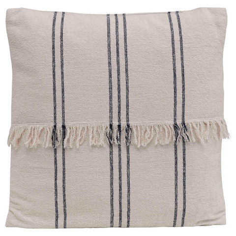 Navy & Natural Striped Pillow