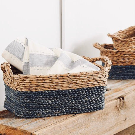 Mud Pie Navy Blue Rectangular Nesting Baskets Set of 3 from One Cottage Way Coastal Farmhouse Decor