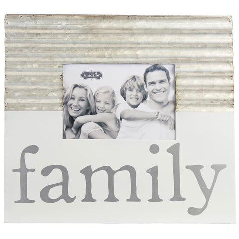 Mud Pie Galvanized Picture Frame with the word FAMILY painted in white from One Cottage Way Coastal Farmhouse Decor