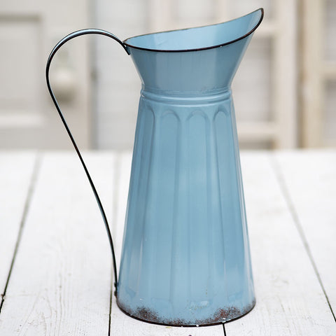 Tall Blue Metal Watering Can Vase from One Cottage Way Coastal Farmhouse Decor