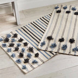 Mud Pie Navy Blue and White Striped Pom Pom Rugs from One Cottage Way Coastal Farmhouse Decoe