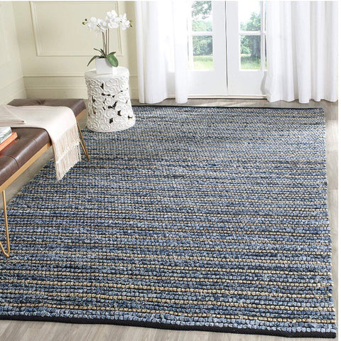 5 x 8 Navy and Jute Stripe Rug