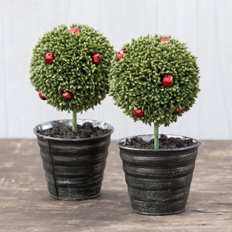 holiday topiaries in black metal pails with red bell berries, set of 2