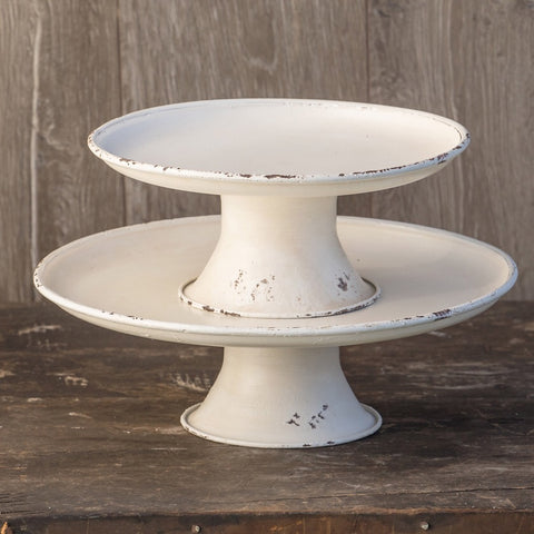 White metal pedestal trays from One Cottage Way