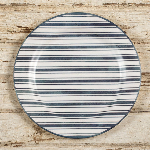 Blue and white striped melamine plates from One Cottage Way
