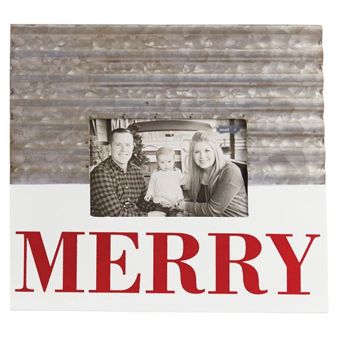 Galvanized Merry Picture Frame