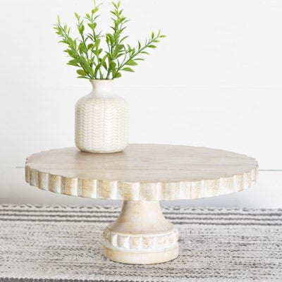 Scalloped Wood Pedestal Tray