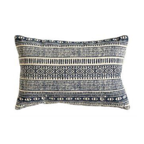 Navy Blue and Cream Ikat Patterned Throw