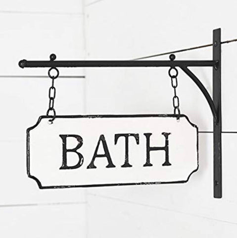 Hanging black and white metal bath sign from One Cottage Way