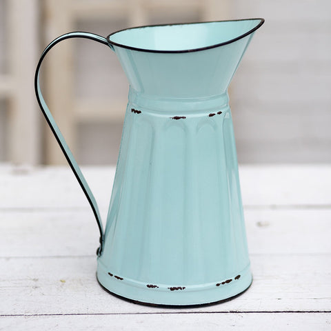 Blue Metal Farmhouse Pitcher or Vase from One cottage Way