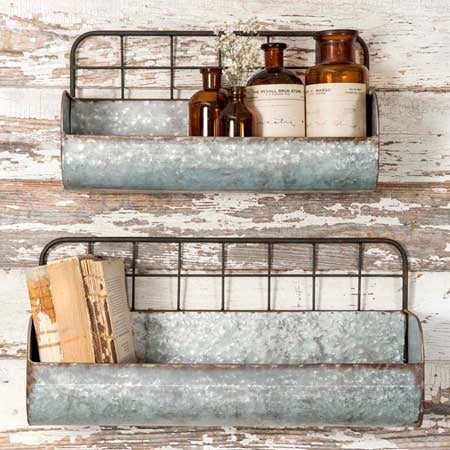 Galvanized metal wall shelves from One Cottage Way