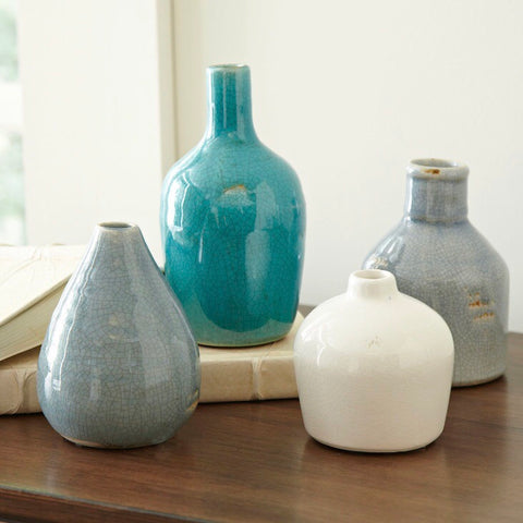 Set of 4 Bud Vases in Varying Shades of Blue and Gray from One Cottage Way Home Goods and Gifts