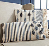 Knotted Stripe Square Tassel Pillow