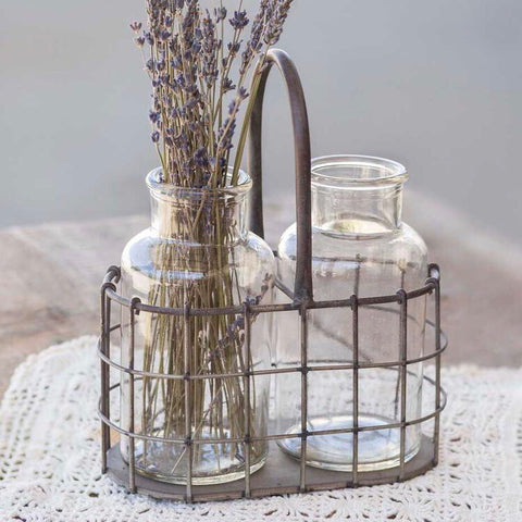 Two Clear Glass Vases in a Black Wire Caddy from One Cottage Way Coastal Farmhouse Decor