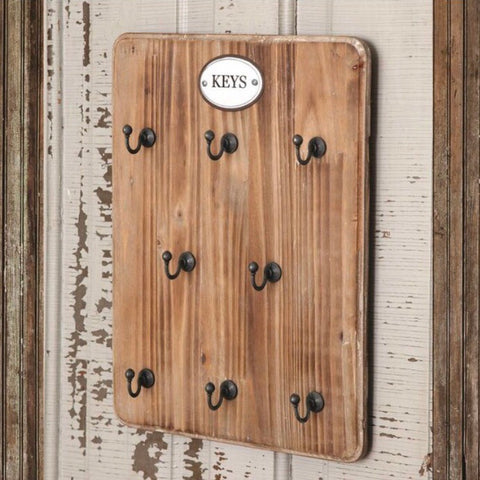 Wood Key Holder With Hooks from One Cottage Way