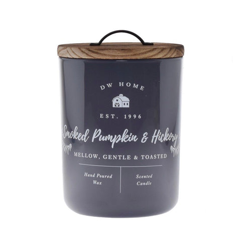 DW Smoked Pumpkin and Hickory Gray Farmhouse Candle with Wood Lid and Double Wicks from One Cottage Way Home Goods and Gifts